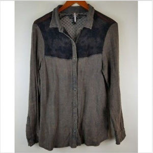 Free People Medium Button down Shirt Lace